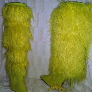 Neon Yellow Yeti Fur Knee High Boot